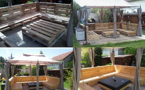 Old Wooden Pallet Patio Furniture Set By Creative Ideas